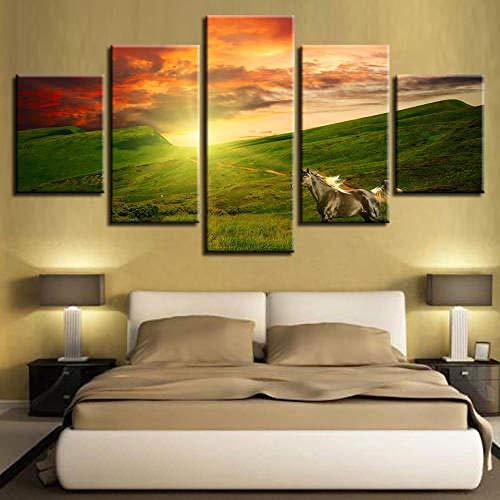 Cuadro sobre Impresión Lienzo 5 Piezas Mural Moderno 5 Piezas,Caballo Blanco Pradera al Atardecer Dormitorios Decor para El Hogar -No Tejido Lienzo Impresión- Modular Poster Mural-Listo para Colgar