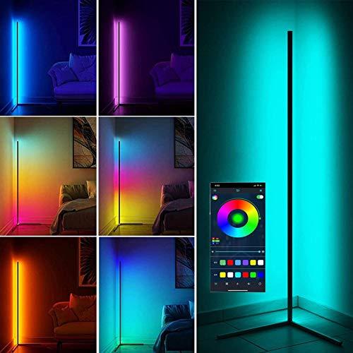 20W LED Lámparas de Pie Regulable, Moderna RGB Lámpara con Control Bluetooth, Lámpara de Suelo para Salón Dormitorio Habitación de Niños Sala de Juegos y Oficina Decoración Lámpara de Esquina, Negro