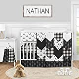 Sweet Jojo Designs Black and White Buffalo Plaid Baby Boy Nursery Crib Bedding Set - 5 Pieces - Woodland Rustic Country Farmhouse Check Deer Lumberjack Arrow