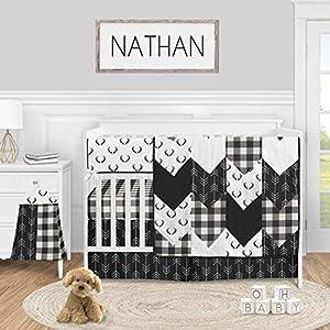 Sweet Jojo Designs Black and White Buffalo Plaid Baby Boy Nursery Crib Bedding Set – 5 Pieces – Woodland Rustic Country Farmhouse Check Deer Lumberjack Arrow