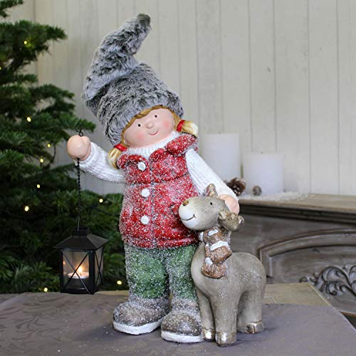 Winter Deko Kinder Mädchen mit Elch & Laterne Goldbach Weihnachtsdeko Figur Xmas