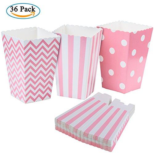 Diealles Popcorn Boxes, 36 Stück Popcorn Tüte Popcorn Candy Boxen Behälter für Party Snacks, Süßigkeiten, Popcorn und Geschenke - Rosa