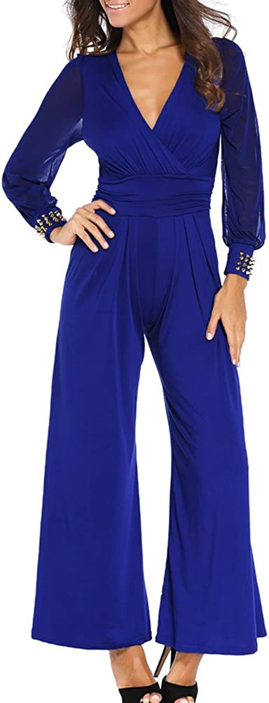 Engood Womens Sexy V-Neck Long Sleeves Elegant Casual Losse Long Wide-Leg Jumpsuits Rompers