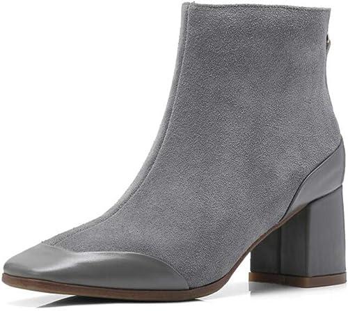 botas Xiaolin tacón tacón con Cremallera para mujer de Cuero de Gamuza Martin zapatos de mujer de Moda (Color   A, Tamaño   US8 EU39 UK6 CN39)
