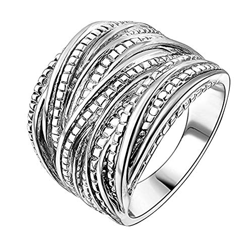 GuDeKe 2 Tone Intertwined Crossover Ring Chunky Band Rings for Women Men Silver Plated Wide Index Finger Rings Costume Jewelry (Silver, L 1/2)