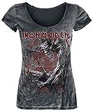 Iron Maiden Fear of The Dark Vintage Mujer Camiseta Negro/Estilo Usado L, 100% algodón, Regular