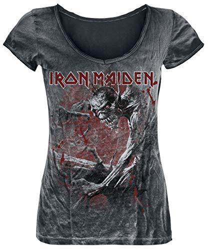 Iron Maiden Fear of The Dark Vintage Mujer Camiseta Negro/Estilo Usado S, 100% algodón, Regular