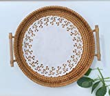 Handcraft Rattan Woven Round Serving Tray for Bread Fruit Snack Platter Storage Basket