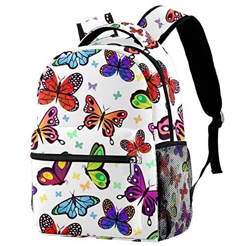 Mochila con patrón de mariposas para adolescentes, libros escolares, viajes, mochila informal