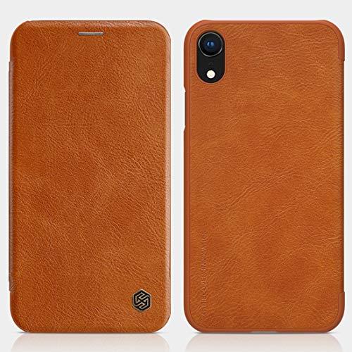 KCSds Caso de Cuero del tirón del iPhone de Apple XR Caballo Loco Textura Horizontal con Ranura for Tarjeta (Color : Brown)
