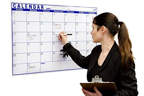 Pizarra blanca con calendario mensual limpiable, 0,8 x 1,2 m, calendario de un mes grande, planificador limpiable