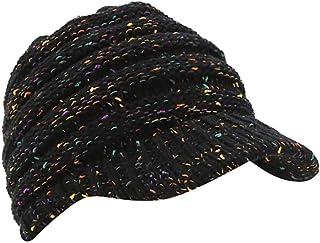 Jiusike Women Winter Ponytail Turban Hat Knit Baseball Cap Earmuffs Beanie Hat