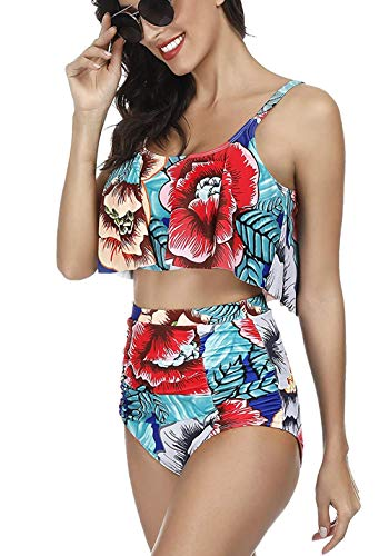DLOREUK Swimsuit for Women Two Piece Bathing Suit Top High Waisted Off Shoulder Bikini Tankini Set