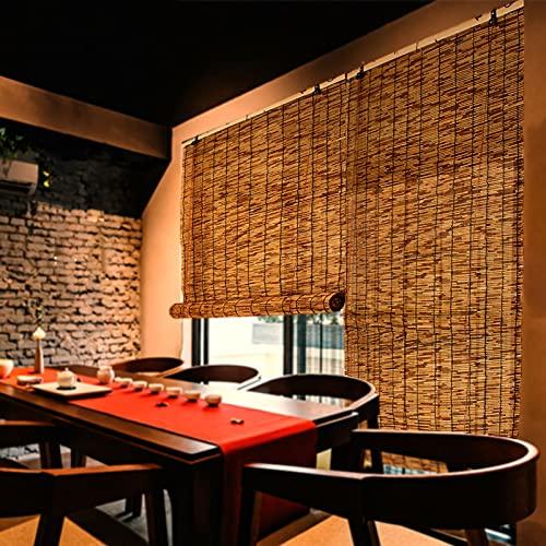 Persiana Enrollables Bambú Cortina de Caña de Estilo Japonés Persianas Enrollables de Bambú, Cortinas Enrollables al Aire Libre para Balcón / Pasillo / Casa de Té, 80cm / 100cm / 120cm / 130cm / 140cm
