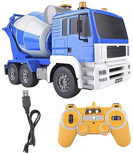 ksovvoo Rc concreto mezclador modelo camión 2.4ghz rc ingeniería vehículo 1:20 simulación camión coche control remoto ingeniería vehículo juguete alto simulación hormigonera mezclador camión para niño