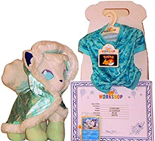 Build A Bear Pokemon Alolan White Vulpix 13in. Plush with Cape Sleeper Sound TCG Card Online Exclusive Bundle