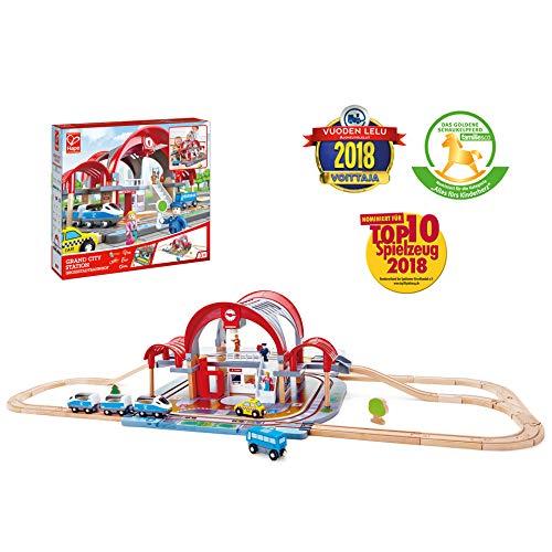 Hape-E3725-Circuit de Train en Bois-Grande Gare Urbaine Circuits de Voitures, E3725, Multicolore