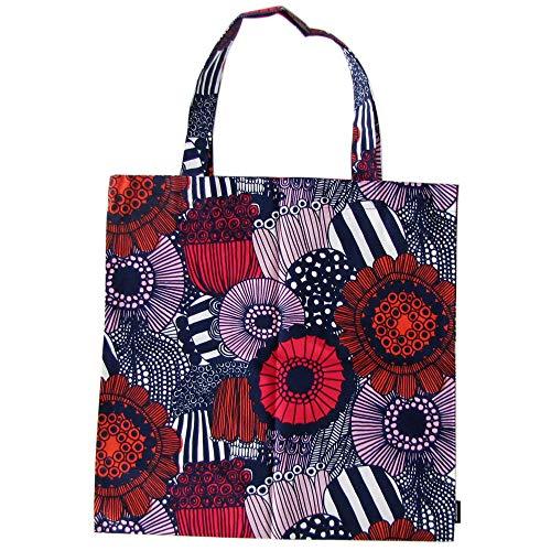Marimekko Baumwolltasche Pieni Siirtolapuutarha – Designer Tasche aus 100% Baumwolle – Weiss/Rot/Blau – 44 x 43 cm – praktische Einkaufstasche