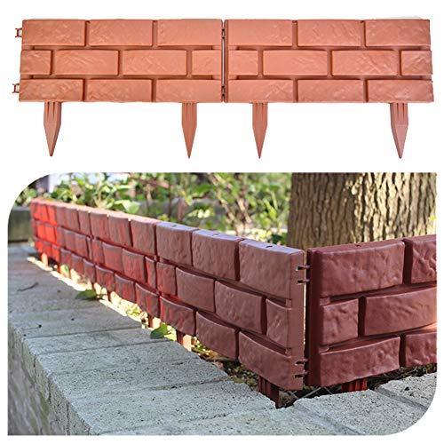 4 recinzioni da giardino in plastica con pietra rossa simulata, con piedini e fibbia di collegamento rimovibile, per il fai da te, per il cortile, per l'erba, il letto, il confine e i raggi UV