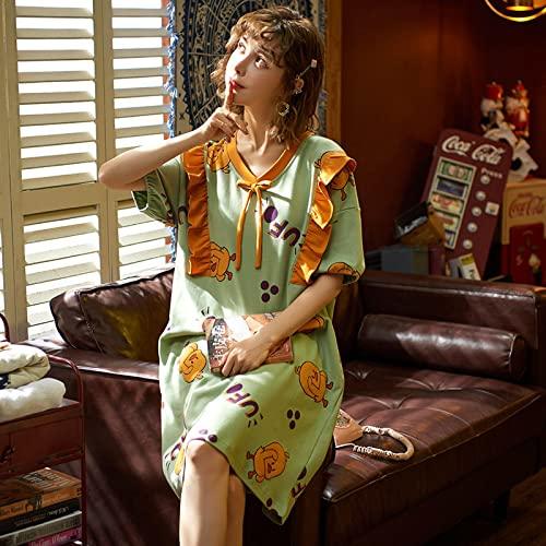 XFLOWR Conjunto de Pijama Informal, Camisetas de Dormir para Mujer, Ropa de hogar con Cuello Vuelto Suave, hasta la Rodilla, Bonito Lazo de Verano Bonito de Talla Grande M Q-5503