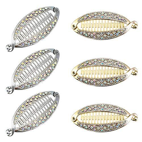 Auidy_6TXD 6 Stücke Strass Banane Haarspange Fisch Form Banana Clip für Damen Mädchen Haarstyling