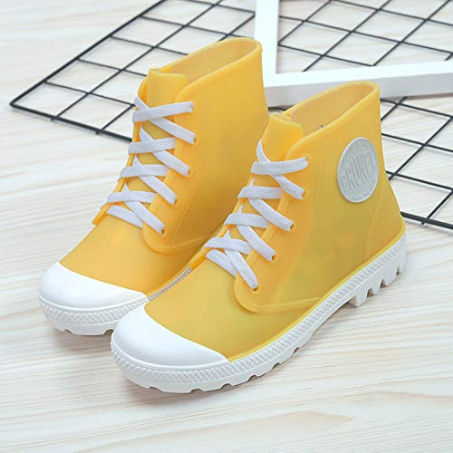 Dames regenlaarzen korte schacht laarzen, antislip, waterdicht, modieuze veters rood Martin Short laarzen rubberlaarzen outdoor regen sneeuw schoenen schoenen voor dames grassland wandelen muziek festival Kl