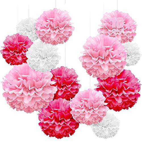 WEARXI Hochzeitsdeko Vintage - 18er Seidenpapier Pompons Pompoms Party Hochzeit Deko, Taufe Konfirmation Deko Mädchen, Kommunion Dekoration für Geburtstag, Hochzeit(Rose Rot, Rose, Weiß)