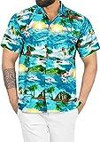 LA LEELA Hombres Hawaiano Camisa enrrollada Playa Fiesta Informal Ciervo Bolsillo Delantero de Manga Corta Turquesa_AA359 M