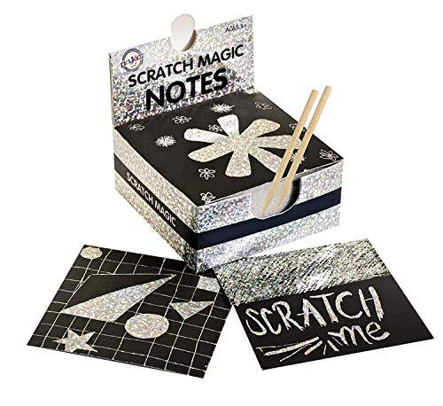 Playkidz Art Kit Magic Scratch Herramientas para niños y Adultos, 100 Hojas de Papel Negro para Crear Coloridas Tarjetas holográficas, marcadores, Notas, imágenes y Otros Arte sin Tinta