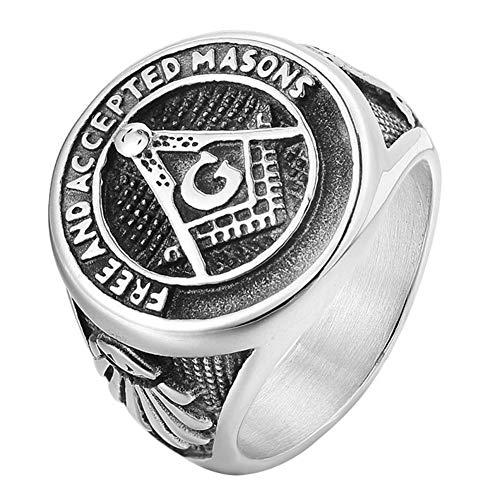 DFWY Anillos Masones Masónicos Masón Acero Inoxidable para Hombre, Anillos Banda Sello Símbolos Masones Gratis Y Aceptados, Vintage Gótico Hip Hop Maestro Joyería Biker Accesorios