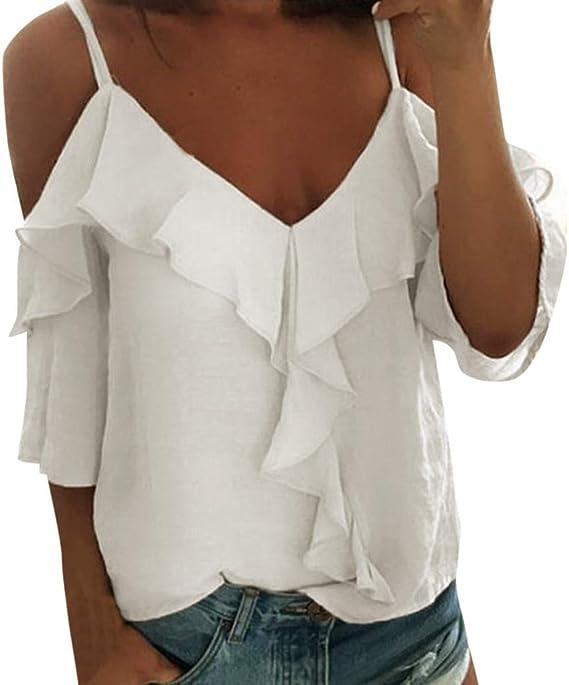 VEMOW Camisole Blusas Tirantes de poliéster para Mujer con ...