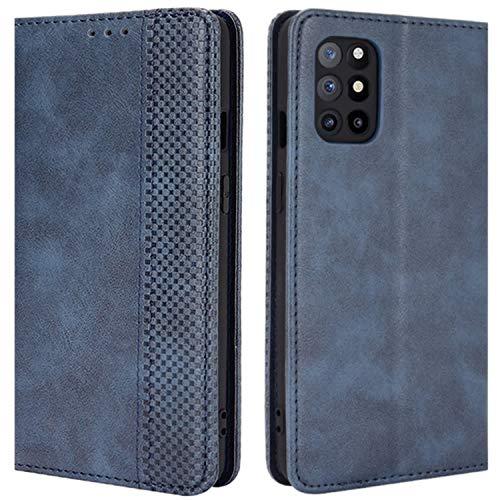 HualuBro Handyhülle für OnePlus 8T Hülle, Retro Leder Stoßfest Klapphülle Schutzhülle Handytasche LederHülle Flip Hülle Cover für OnePlus 8T Tasche, Blau