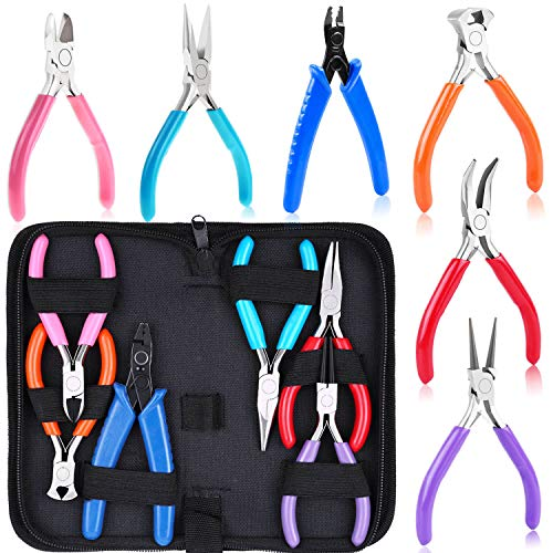Jewelry Pliers, Acejoz 6pcs Jewelry Making Tools Kit Includs Needle Nose Pliers, Round Nose Pliers, Wire Cutters, Crimping Pliers, Bent Nose Pliers, End Nippers for Beading Craft