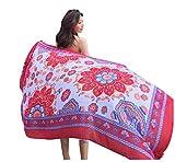 Cebilevin Damen Übergroesse Modisch Kariert Blumen Pattern Sarong Pareo Strandtuch Wickeltuch Bikini Sonnenschutz Decke Cover-up 180 * 90cm