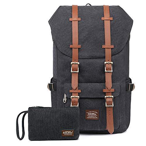 Travel Laptop Backpack, Outdoor Rucksack, School backpack Fits 15.6'(Canvas Black2pc)