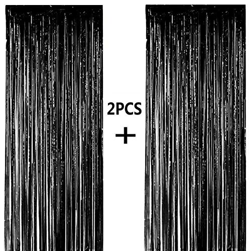 ONUPGO 2 Pack 3.28 ft x 9.8 ft Black Foil Curtains Metallic Tinsel Fringe Curtain Photo Booth Props Backdrop Curtain Perfect for Birthday Wedding Baby Shower Christmas Holiday Party Decorations…