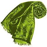 Lorenzo Cana, sciarpa di lusso di alta gamma, di lusso, in tessuto damascato e motivi floreali, in viscosa misto seta 55x 190cm Verde verde