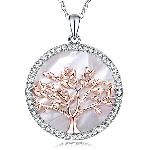MEGA CREATIVE JEWELRY Collar Árbol de la Vida Oro Rosa Colgante para Mujer Regalo Madre Esposa Abuela Joyería Plata 925 con Cristales Nácar