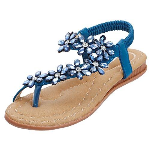 SANMIO Damen Sandalen Flach Sommerschuhe PU Leder Bohemia Flach Sandalen Zehentrenner, Blau, 40 EU (Herstellergröße: 41)