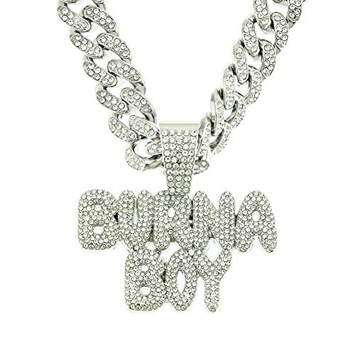 RXSHOUSH Hiphop Collar tridimensional con colgante de letra de diamante BURNA BOY con circonita de 50 cm, cadena cubana de oro/plata, para hombres y mujeres, plata
