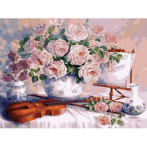 chenyike Malen nach Zahlen für Erwachsene und Kinder DIY Ölgemälde Enthält Acrylfarben und Pinsel -Vorgedruckt Leinwand Home Haus Dekor - Blumen und Geige 16 * 20 Zoll /40x50 cm