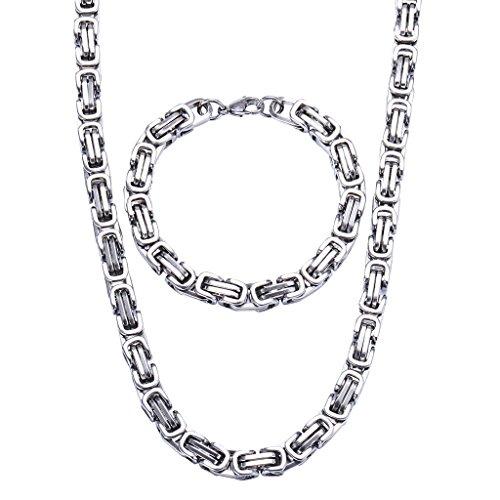 Jewow Edelstahl 8mm Breite Halskette und Armkette Set für Herren