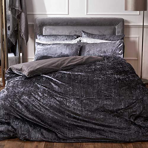 Sienna Crinkle fluwelen dekbedovertrek met kussensloop Valencia beddengoed, antraciet, King