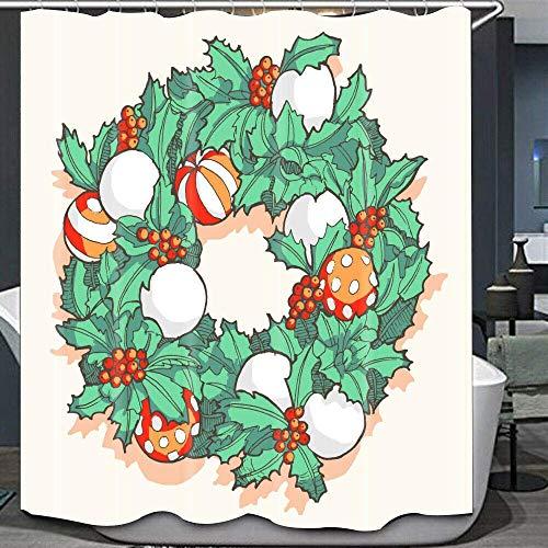 WS Stechpalmenblätter, Weihnachtsbaumkugel-Beeren-Cartoon, wasserdicht, für Badezimmer, Innenbereich, Duschvorhang, Dekoration, 12 Haken, 183 cm lang