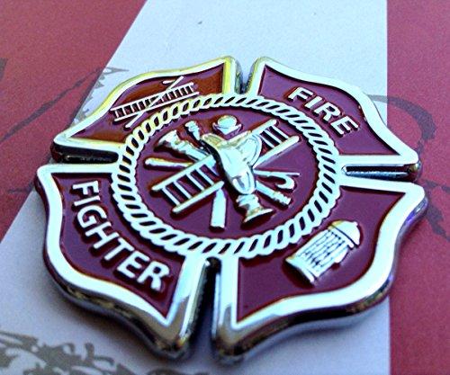 AMG Auto Emblems Firefighter Maltese Cross Shaped METAL Auto Emblem Black /& Chrome