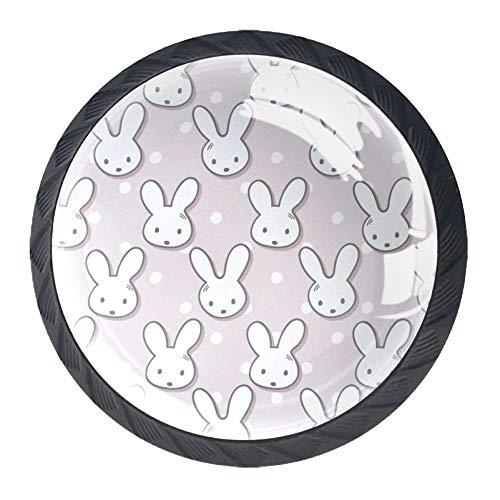 Knauf für Schranktüren und Schubladen aus Glas, niedlicher Kaninchen-Maulkorb und gepunktet