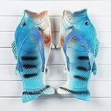 NISHIWOD Zapatillas Casa Chanclas Sandalias Moda Mujer Chanclas Unisex Amantes Zapatillas Dama Suave Zuecos Diseño De Pescado Eva Zapatos Planos Tallas Grandes 11 Azul