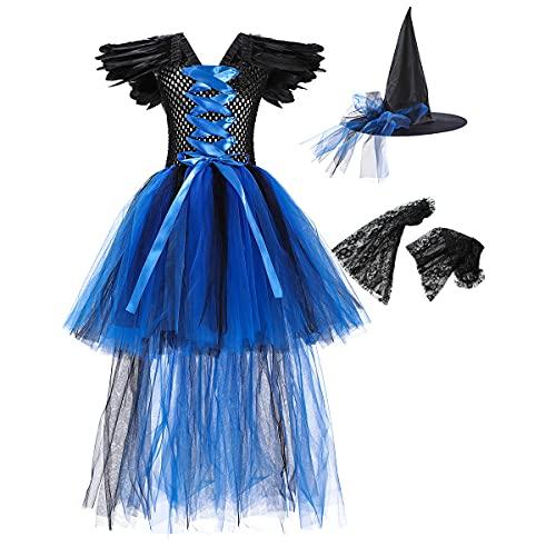 OBEEII Disfraz de Maléfica Tul para niña Azul 8-9 Años