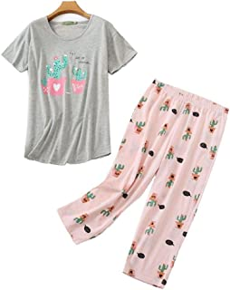 SAPJON Mujeres Conjuntos Pantalones Capri con Tapas Cortas Camisones de algodón Flojo Home Use Dibujos Animados Lindo Impr...
