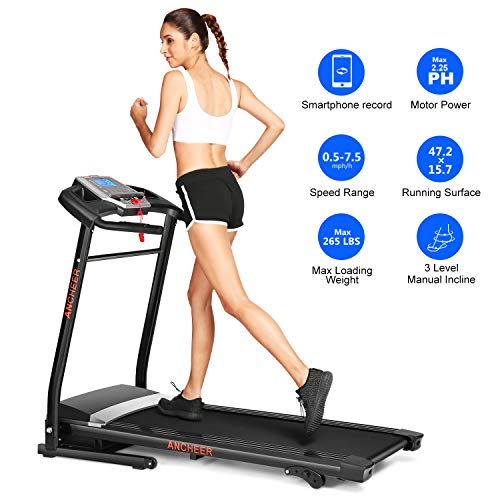 ANCHEER Folding Electric Treadmill with Incline for Home,Mini Exercise Machine with Downloadable Sports App for Running & Walking Treadmills
